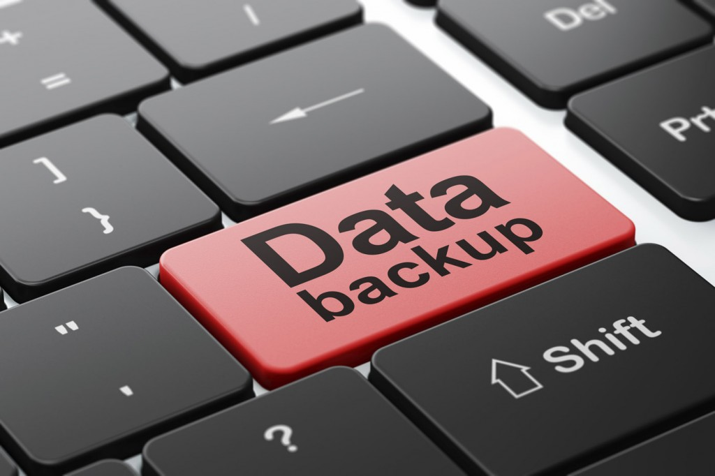 Data Backup on computer keyboard background